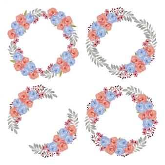 Conjunto de guirnalda de flores color de rosa acuarela