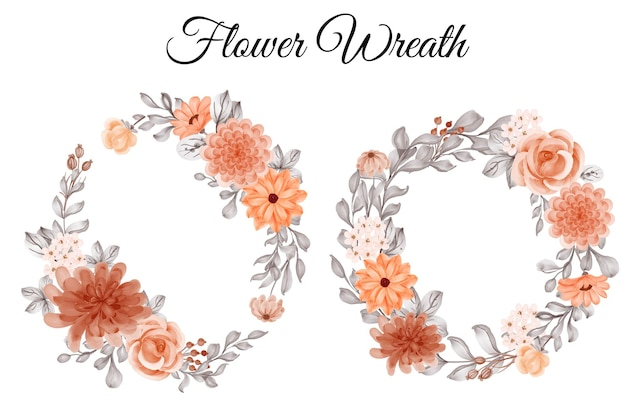 Conjunto de guirnalda de flores flor naranja y hojas para otoño