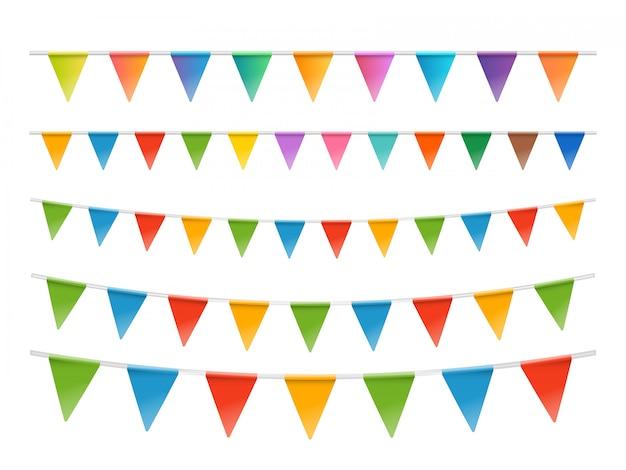 Conjunto de guirnaldas de banderas de colores aislado en blanco