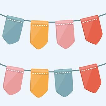 Conjunto de guirnaldas de empavesados multicolores con adornos sobre fondo blanco.