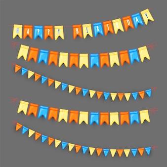 Conjunto de guirnaldas festivas de banderas