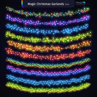 Conjunto de guirnaldas mágicas de navidad