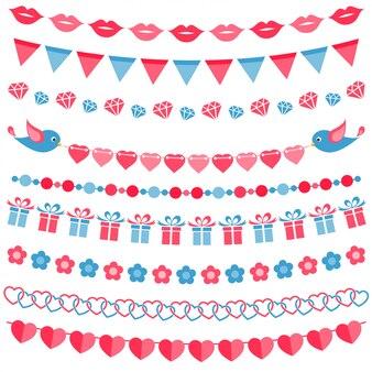 Conjunto de guirnaldas rojas y azules aislado en blanco