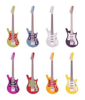 Conjunto de guitarras eléctricas brillantes