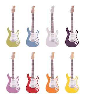 Conjunto de guitarras eléctricas de colores.