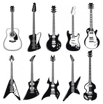 Conjunto de guitarras estilizadas. colección de instrumentos musicales eléctricos.