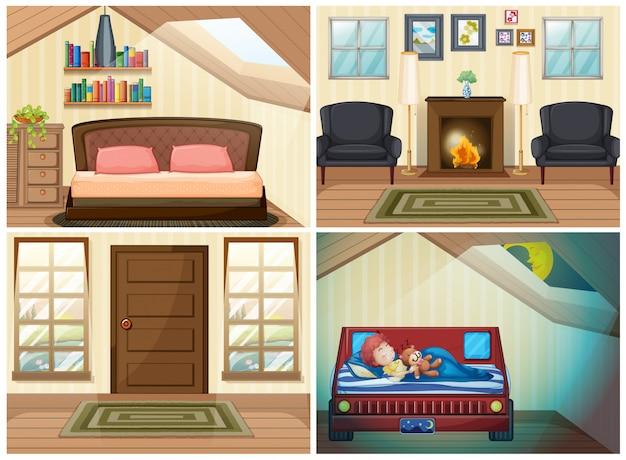 Conjunto de habitación en la casa.