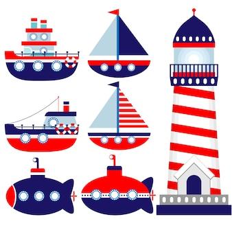 Conjunto de habitación infantil temática náutica