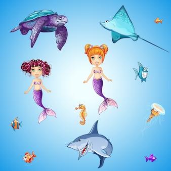 Conjunto de habitantes submarinos de dibujos animados, sirenas, peces, cráneos y otros