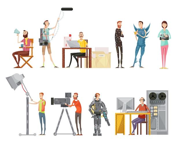 Conjunto de hacer una película que incluye el director de actores, camarógrafo, ingeniero de sonido, operador de iluminación, estilo plano, aislado, ilustración vectorial