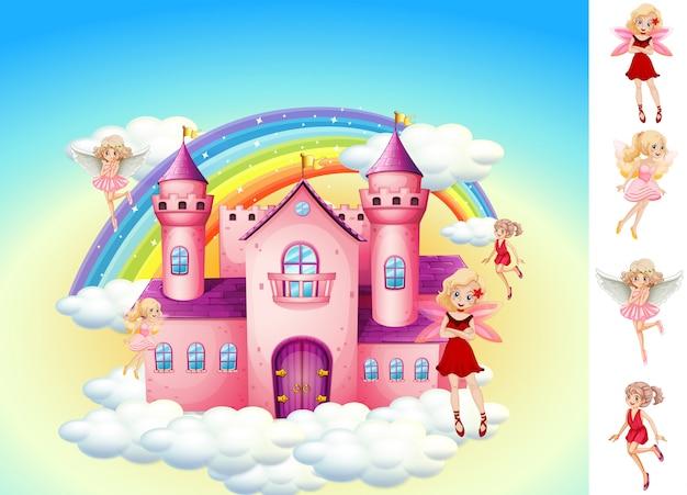 Conjunto de hadas en el castillo del cielo