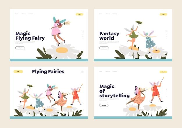 Conjunto de hadas mágicas voladoras de plantillas de páginas de destino Vector Premium