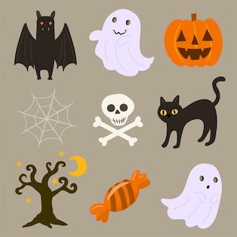 Conjunto de halloween de diferentes elementos.