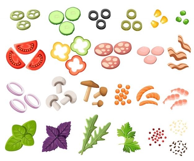 Conjunto de hamburguesas. ingredientes bollos, queso, tocino, tomate, cebolla, lechuga, pepinos, cebollas encurtidas, ternera, jamón. ilustración. toppings sandwich página del sitio web y elemento de aplicación móvil.