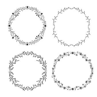 Conjunto de hdraw victoria laurel coronas de flores de boda para papelería. línea simple dravwing.