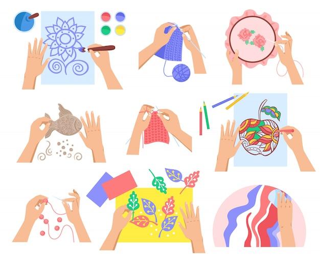 Conjunto hecho a mano de diseño plano con varios pasatiempos creativos aislados en la ilustración de fondo blanco