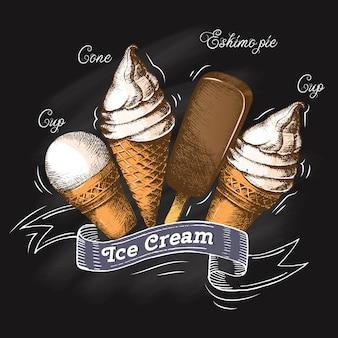Conjunto de helado en la tiza pizarra. bosquejo. temporada de verano. ilustración