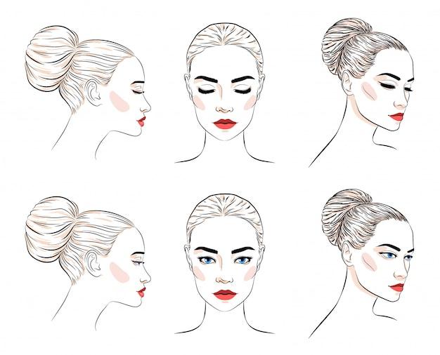 Conjunto de hermosa mujer con moño peinado y maquillaje elegante