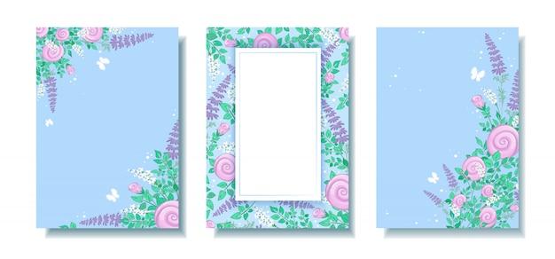 Conjunto de hermosa plantilla floral rectangular con marcos de flores silvestres y mariposas.