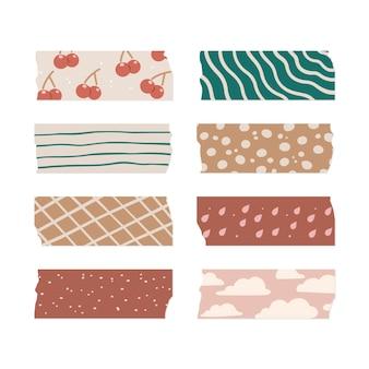 Conjunto de hermosas cintas washi dibujadas