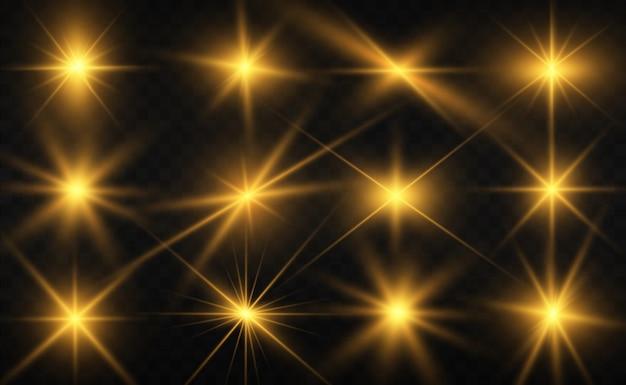 Conjunto de hermosas estrellas brillantes. efecto de luz. lucero. hermosa luz para ilustrar. estrella de navidad. el brillo blanco brilla con un efecto de luz especial. vector brilla sobre un fondo transparente.