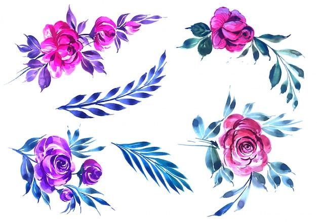 Conjunto de hermosas flores coloridas acuarelas