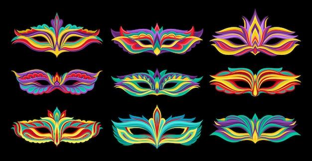 Conjunto de hermosas máscaras de disfraces. atributos vibrantes para fiesta de disfraces. elementos decorativos para el cartel de fiesta de mardi gras, invitación o tarjeta de felicitación