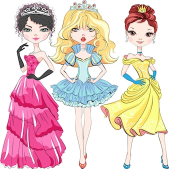 Conjunto de hermosas princesas de chicas de moda en las coronas y en hermosos vestidos