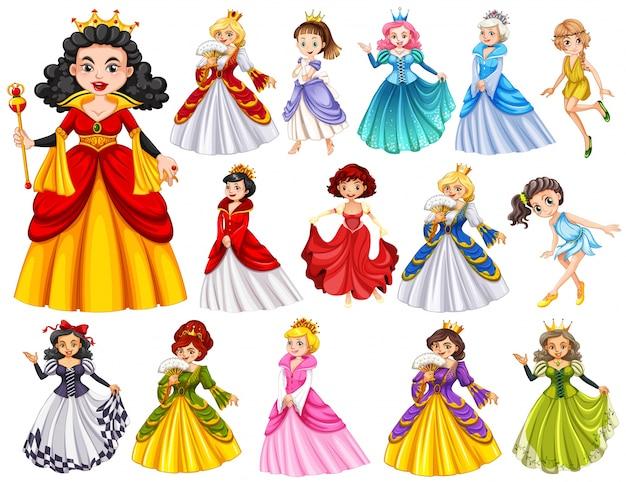 Conjunto de hermosas reinas y la ilustración de la princesa