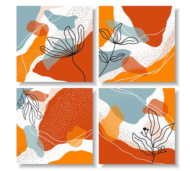 Conjunto de hermoso diseño floral para publicación de instagram