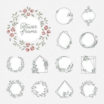 Conjunto hermoso marco decorativo guirnalda floral