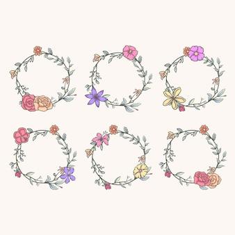 Conjunto de hermoso marco redondo con flores, línea dibujada a mano con color digital