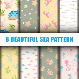 Conjunto hermoso patrón de mar