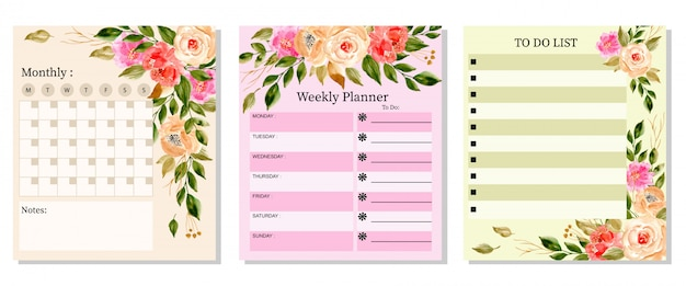Conjunto hermoso planificador con acuarela floral