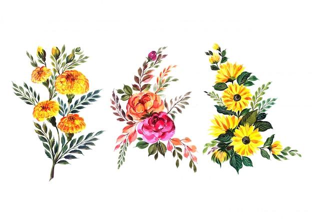 Conjunto hermoso ramo floral