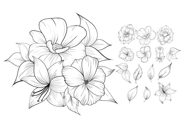 Conjunto de hermosos arreglos florales de rosas de arte lineal