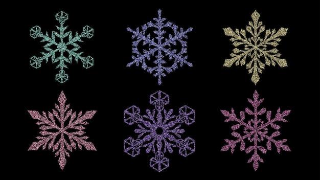 Conjunto de hermosos copos de nieve de navidad complejos brillantes hechos de destellos en varios colores