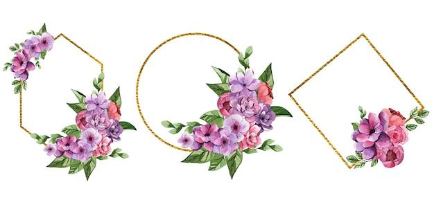 Conjunto de hermosos cuadros de acuarela con flores de color púrpura