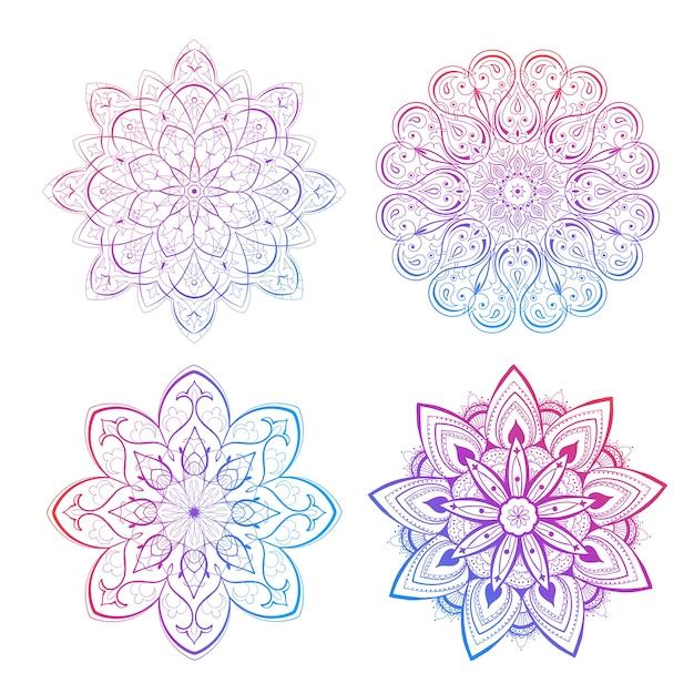 Un conjunto de hermosos mandalas y círculos de encaje. vector de mandala degradado redondo. oriental tradicional