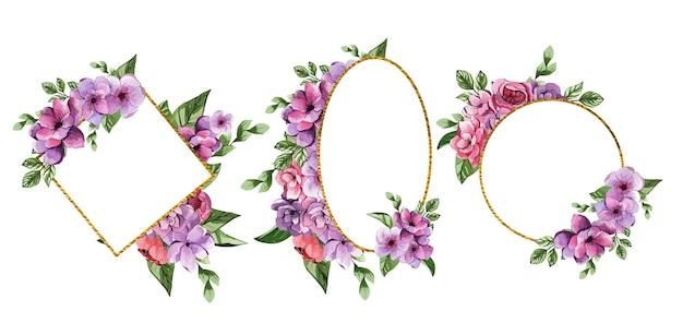 Conjunto de hermosos marcos florales acuarelas