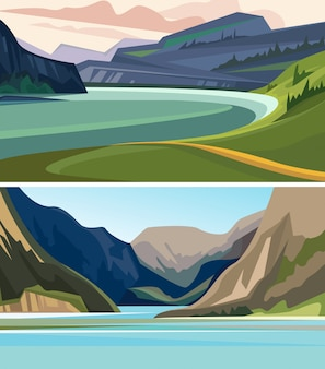 Conjunto de hermosos paisajes de fiordos