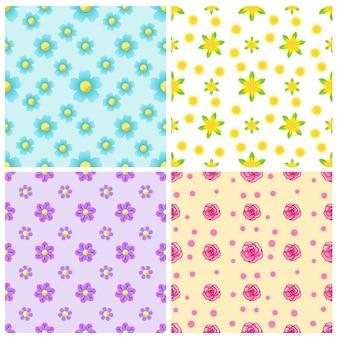 Conjunto de hermosos patrones sin fisuras con flores