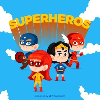 Conjunto héroe de dibujos animados