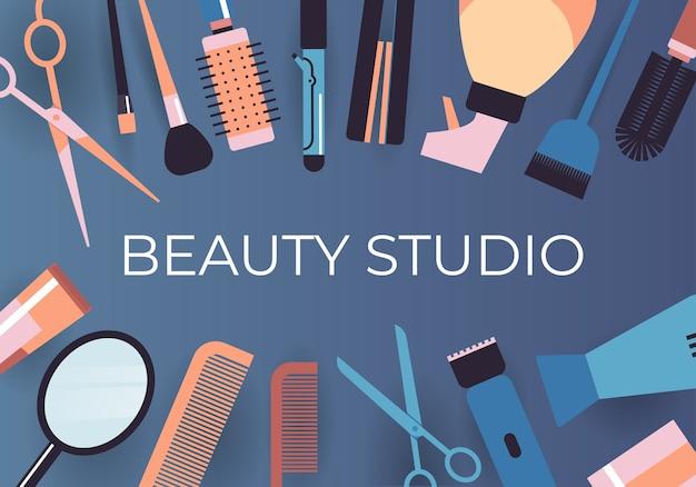 Conjunto de herramientas y accesorios de peluquería colección concepto de salón de belleza ilustración vectorial horizontal