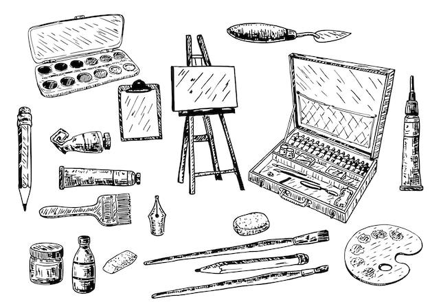 Conjunto de herramientas y accesorios de pintura dibujados a mano