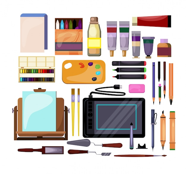 Conjunto de herramientas de arte y artesanía.