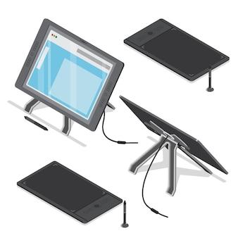 Conjunto de herramientas de arte digital de diseñador de artista de pantalla táctil de tableta digitalizadora isométrica.