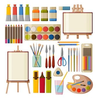 Conjunto de herramientas de arte de pintura. acuarela, gouache, aceite y pinturas acrílicas. rotuladores, lápices de colores y pinceles para pintar. caballetes de mesa y suelo. ilustración.