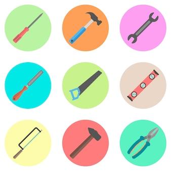 Conjunto de herramientas en los círculos de colores.
