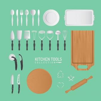 Conjunto de herramientas de cocina de vector y accesorios